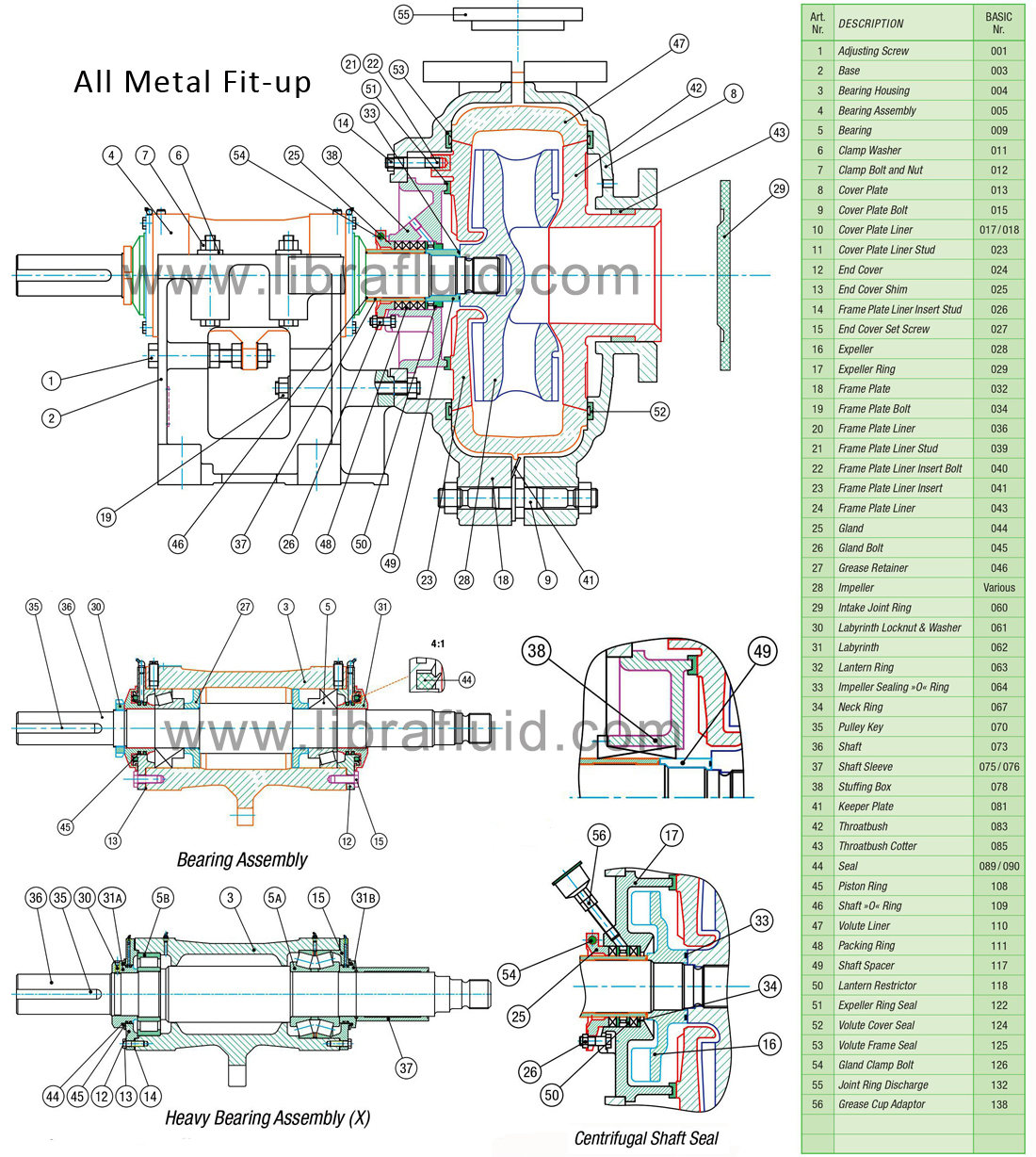 High chrome slurry pump assembly drawing