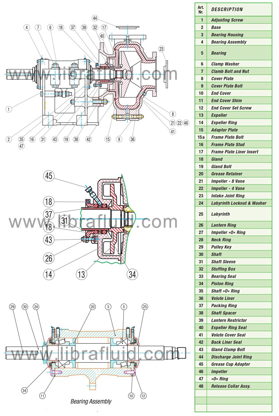 Light duty slurry pump assembly drawing