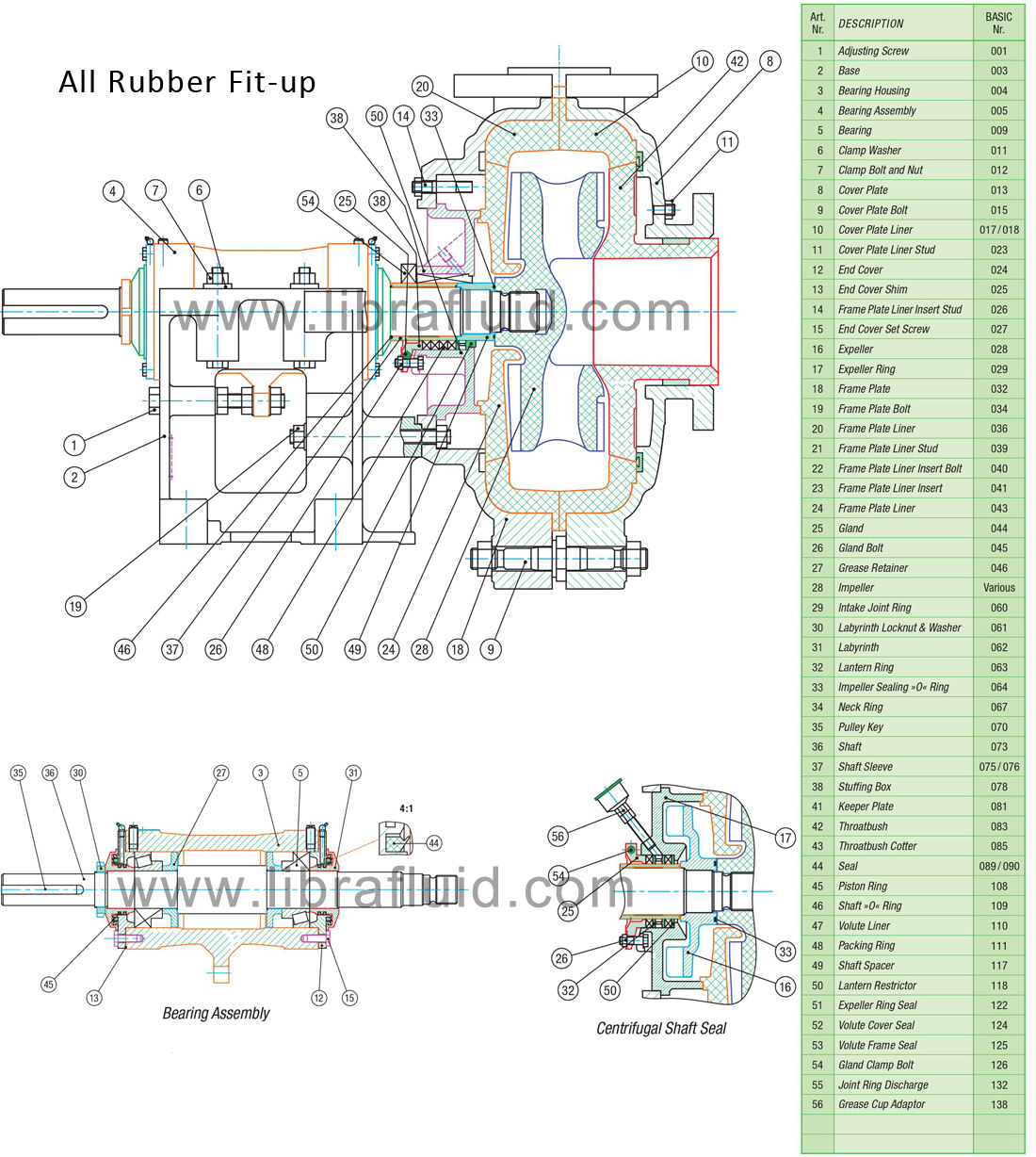 Rubber slurry pump assembly drawing