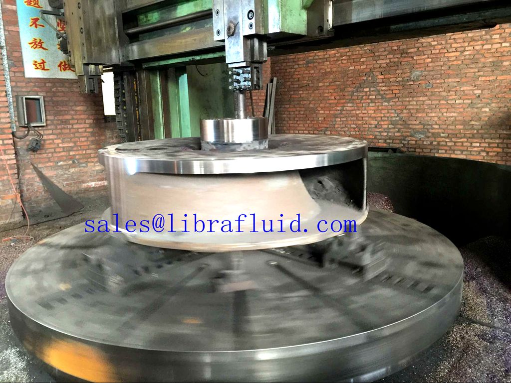 Dredge pump impeller in machining process