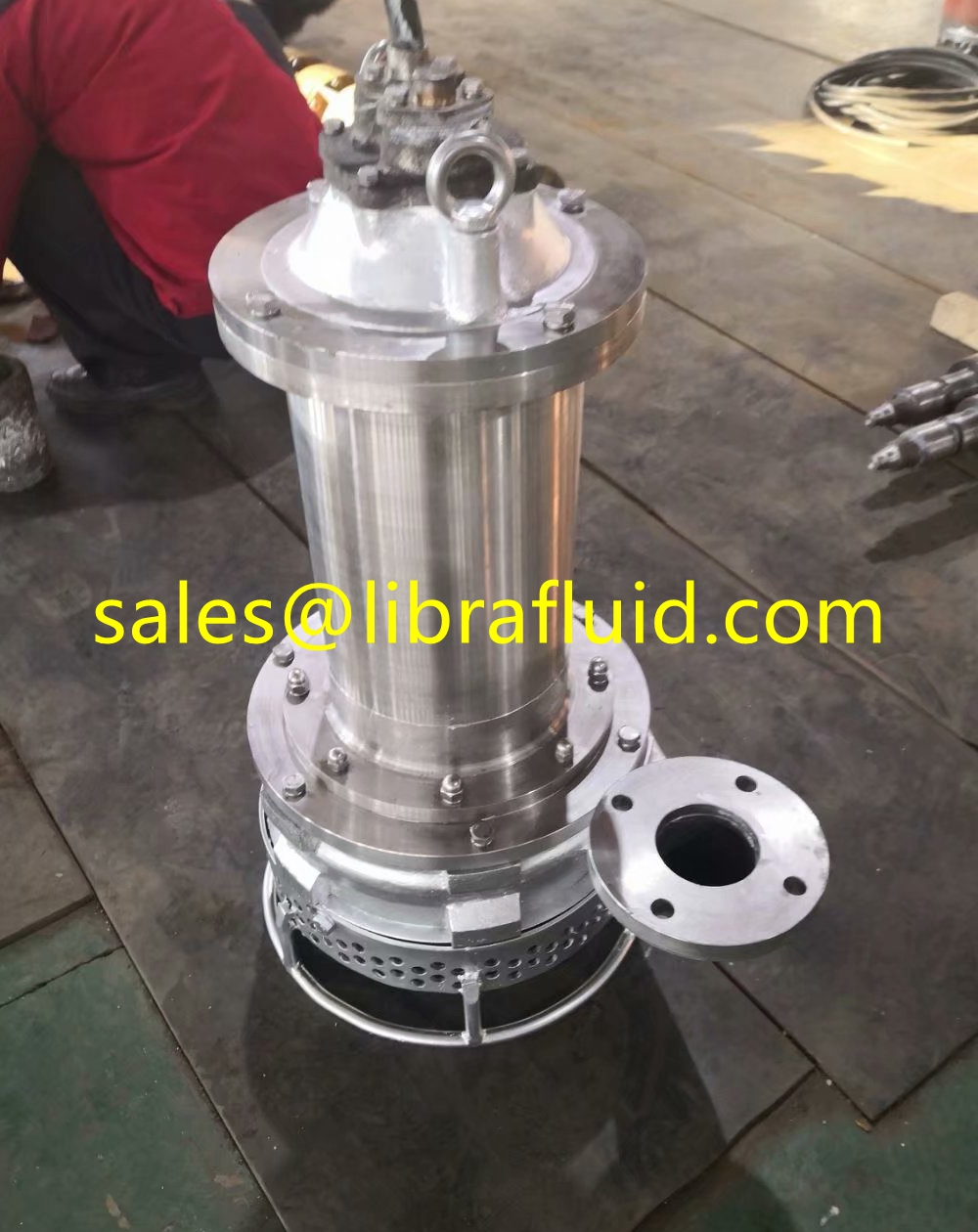 Stainless steel Submersible slurry pump installation for chemical slurry condition