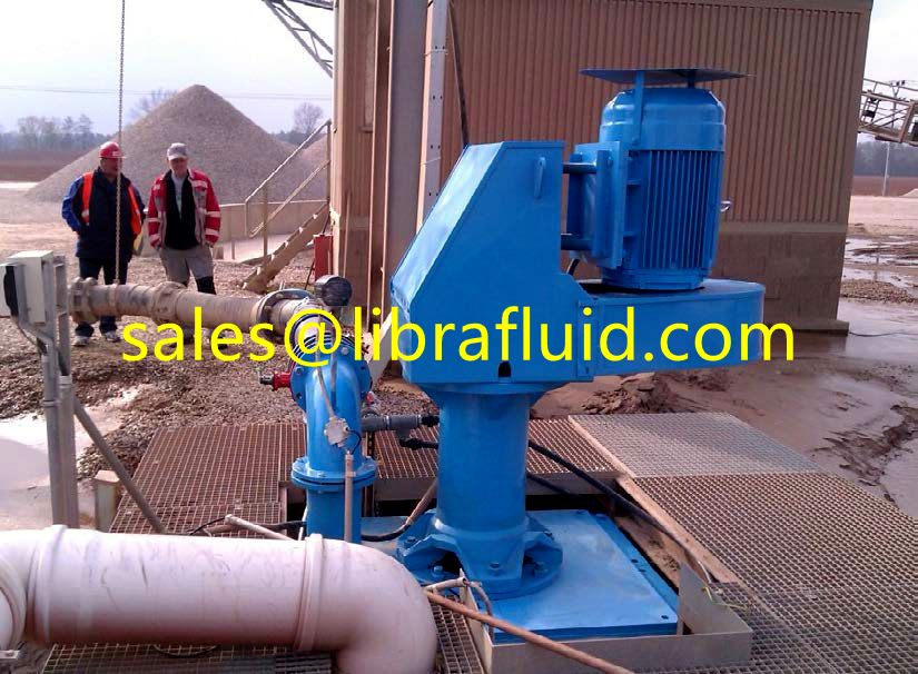 Vertical submersible slurry pump working on site